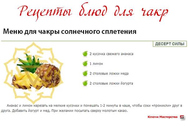 Рецепты блюд для чакр